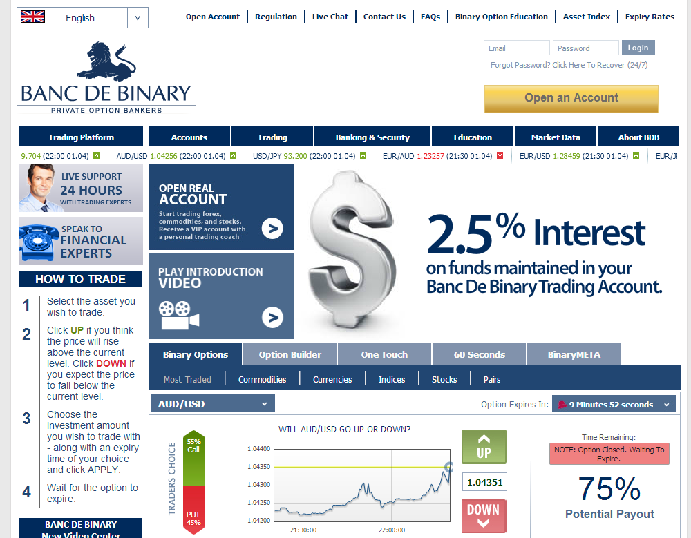 Banc de binary deposit options